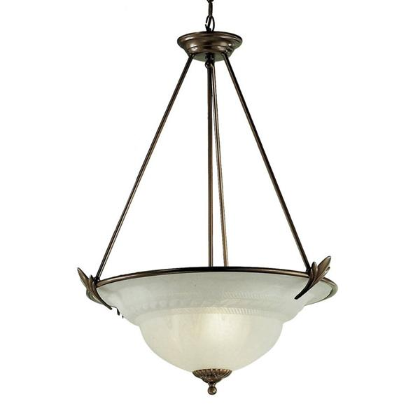 Classic Lighting Roma 23-in Gold Traditional Alabaster Glass Bowl Pendant