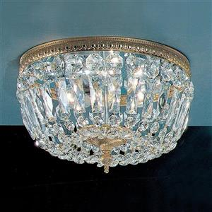 Classic Lighting Crystal Baskets 12-in W Olde World Bronze Italian Crystal Flush Mount Light