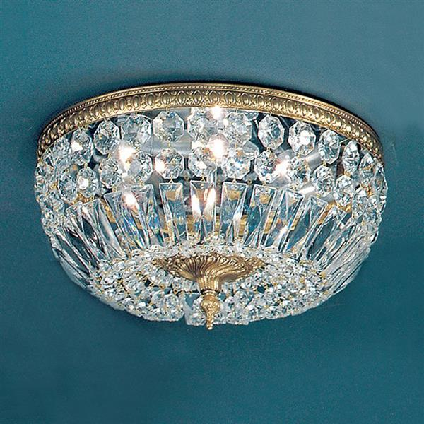 Classic Lighting Crystal Baskets 14-in W Olde World Bronze Italian Crystal Flush Mount Light
