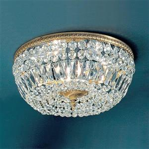 Classic Lighting Crystal Baskets 18-in W Olde World Bronze Italian Crystal Flush Mount Light