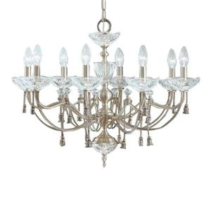 Classic Lighting Devonshire Collection 36-in Satin Nickel 8-Light Traditional Crystal Candle Chandelier