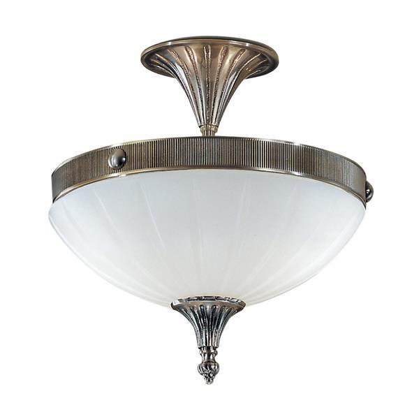 Classic Lighting Chelsea 2-Light Brass 12-in x 12-in x 10-in Semi-Flush Mount