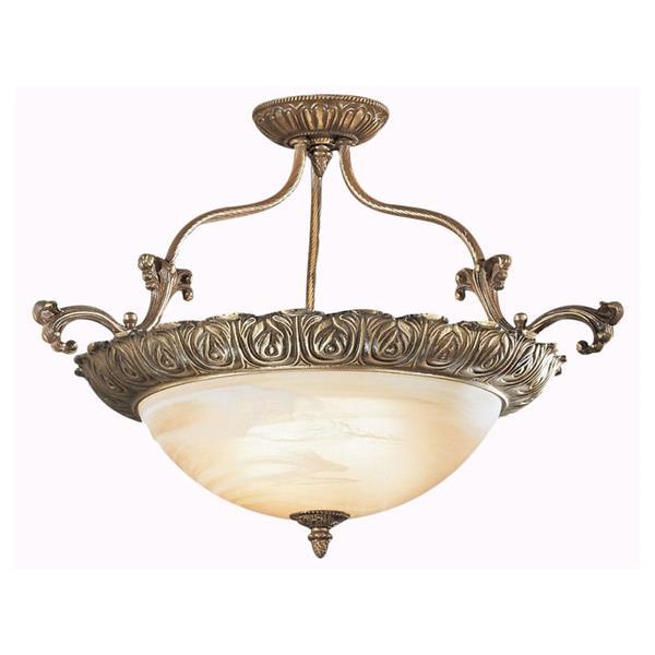 Classic Lighting Montego Bay 4-Light Bronze 28-in x 28-in x 18-in Semi-Flush Mount
