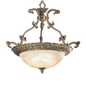 Classic Lighting Montego Bay 28-in Roman Bronze Traditional Alabaster Glass Bowl Pendant