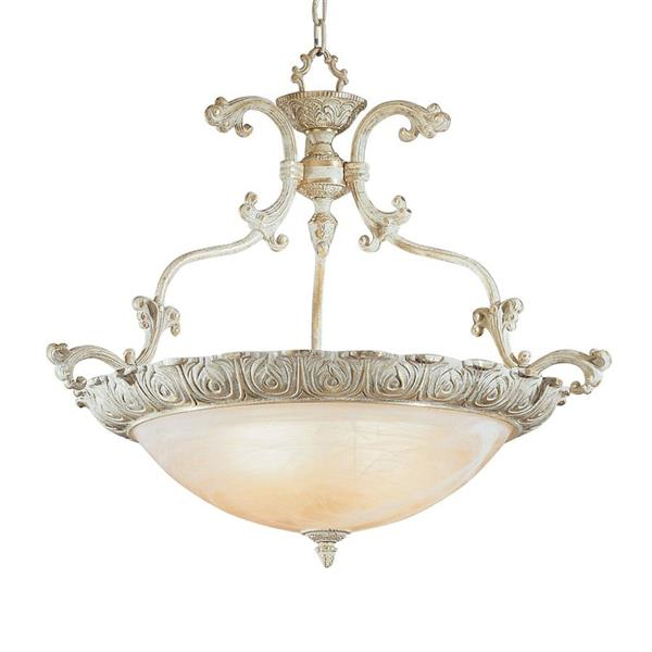 Classic Lighting Montego Bay 28-in Sorrento Gold Traditional Alabaster Glass Bowl Pendant