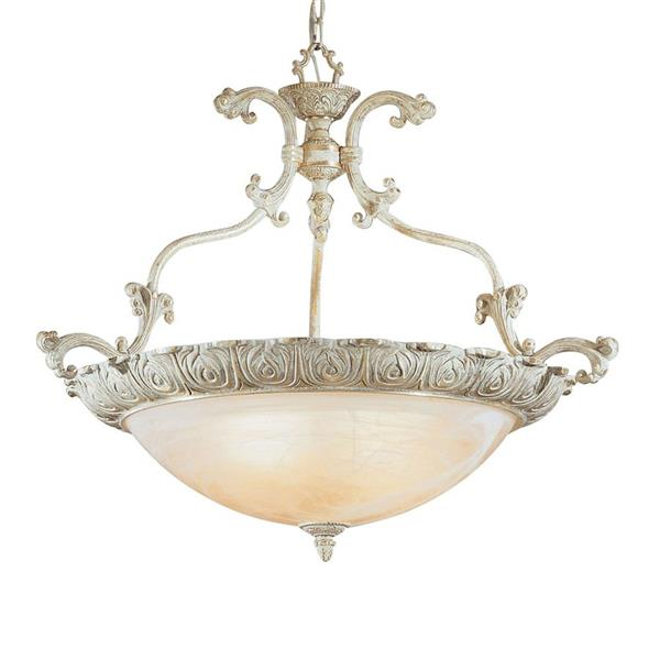 Classic Lighting Montego Bay 32-in Sorrento Gold Traditional Alabaster Glass Bowl Pendant
