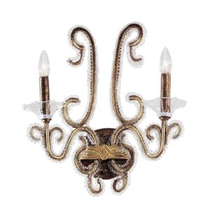 Classic Lighting Concerto 16-in W 2-Light Crackle Bronze Arm Wall Sconce