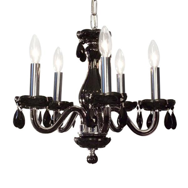 Classic Lighting Monaco Collection 36-in Black Crystalique Black 5-Light Transitional Crystal Candle Chandelier