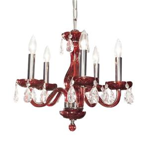 Classic Lighting Monaco Collection 36-in Red Crystalique-Plus 5-Light Transitional Crystal Candle Chandelier