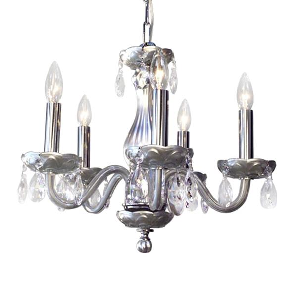 Classic Lighting Monaco Collection 36-in Silver Crystalique-Plus 5-Light Transitional Crystal Candle Chandelier