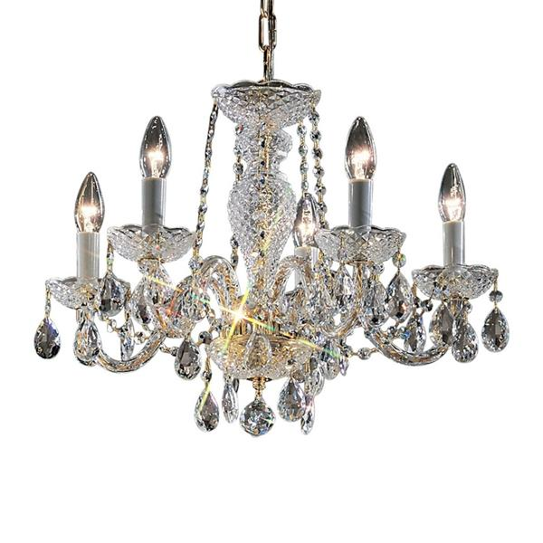Classic Lighting Monticello Collection 36-in 24k Gold Plate 5-Light Traditional Candle Chandelier