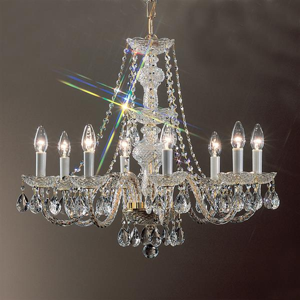 Classic Lighting Monticello Collection 36-in 24k Gold Plate 8-Light Traditional Candle Chandelier