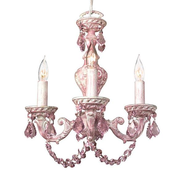 Classic Lighting Gabrielle 36-in Pink over Antique White 4-Light Traditional Crystal Candle Chandelier