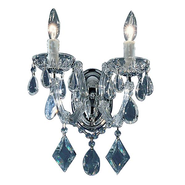 Classic Lighting Rialto Contemporary 10-in W 2-Light Chrome Crystal Wall Sconce