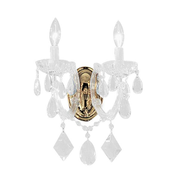 Classic Lighting Rialto Contemporary 10-in W 2-Light Gold Plated Crystal Wall Sconce