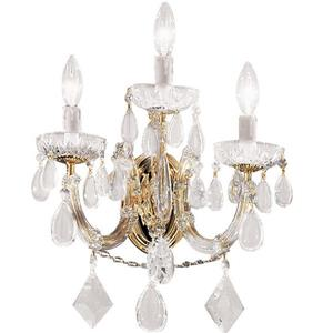 Classic Lighting Rialto Contemporary 10-in W 3-Light Gold Plated Crystal Wall Sconce