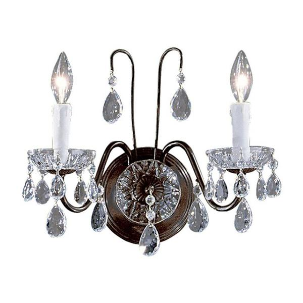 Classic Lighting Daniele 13-in W 2-Light English bronze Crystal Arm Wall Sconce