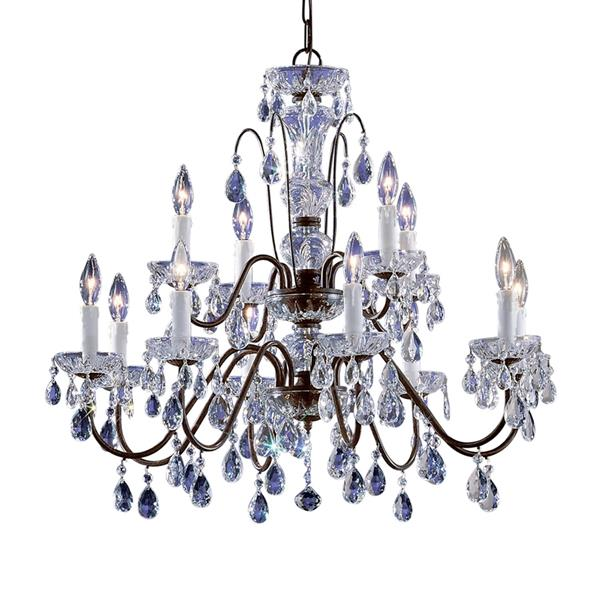 Classic Lighting Daniele 25-in English Bronze Traditional Tiered 12-Light Chandelier