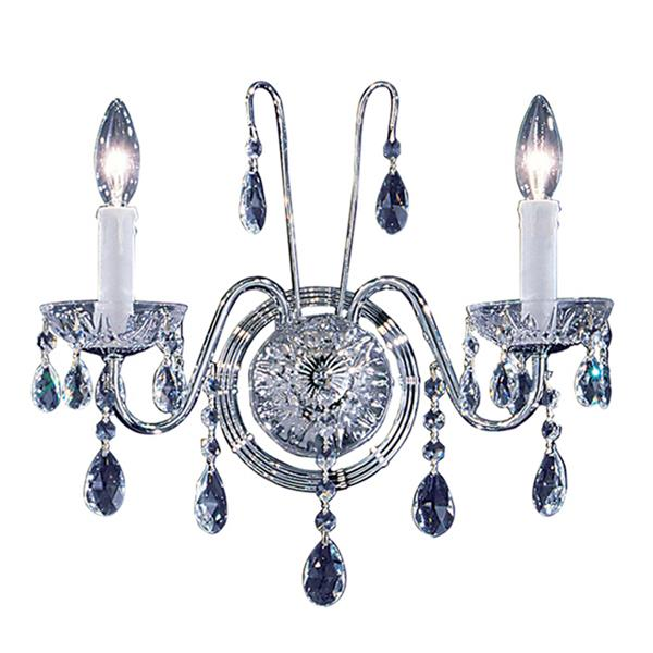 Classic Lighting Daniele 13-in W 2-Light Chrome Crystal Wall Sconce