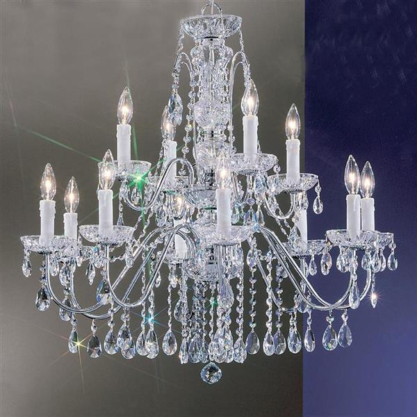 Classic Lighting Daniele 29-in Chrome Traditional Crystal Tiered 12-Light Chandelier