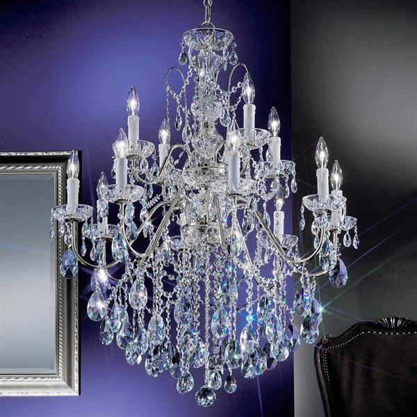 Classic Lighting Daniele 36-in Chrome Traditional Crystal Tiered 12-Light Chandelier