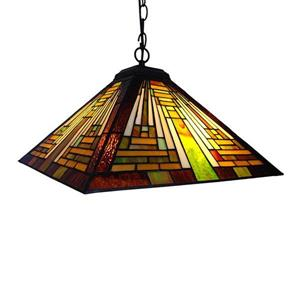 Chloe Lighting Mission 23-in Bronze Craftsman Stained Glass Pendant