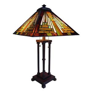Chloe Lighting Mission 23-in Dark Antique Bronze Base and Amber & Green Glass Shade Table Lamp