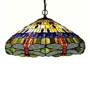 Chloe Lighting Dragonfly 24-in Bronze Traditional Stained Glass Dome Pendant