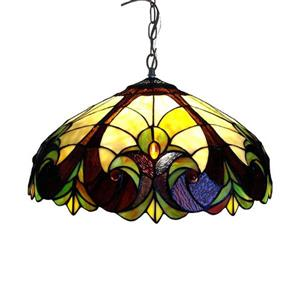 Chloe Lighting Victorian 18-in Bronze Traditional Stained Glass Dome Pendant
