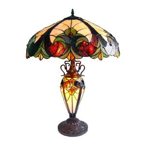 Chloe Lighting Victorian 26-in Dark Antique Bronze Base and Multi Coloured Glass Shade Table Lamp