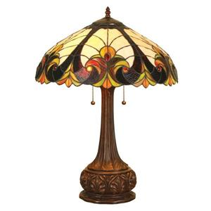 Chloe Lighting Victorian 24-in Dark Antique Bronze Base and Multi Coloured Glass Shade Table Lamp