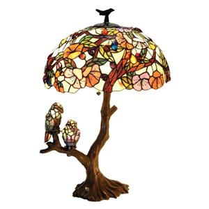 Chloe Lighting Birds 29-in with Dark Antique Tree Base and Multi Coloured Glass Shade Table Lamp
