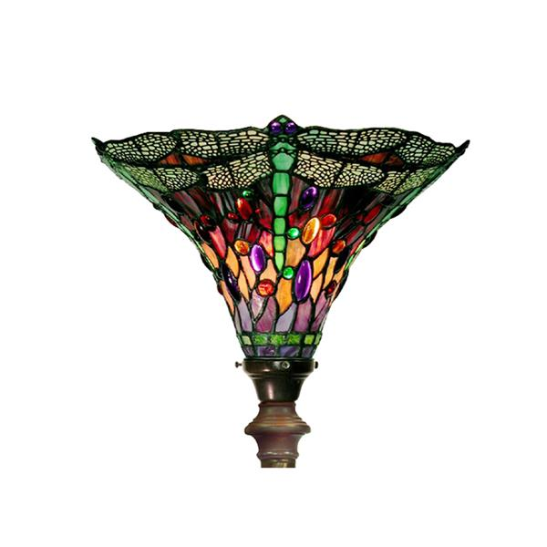 Warehouse of Tiffany 72-in Bronze Dragonfly Foot Switch Torchiere Floor Lamp with Glass Shade