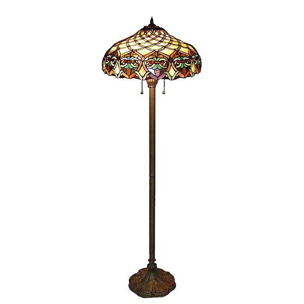 Warehouse of Tiffany 60-in Bronze Ariel Floor Lamp with Glass Shade