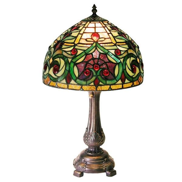 Warehouse of Tiffany 21-in with Bronze Base and Multi Coloured Shade Table Lamp