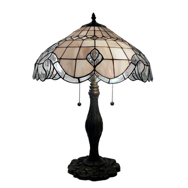 Warehouse of Tiffany 22-in with Bronze Base and Champagne Coloured Shade Table Lamp