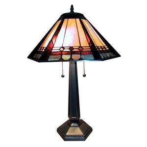 Warehouse of Tiffany 26-in with Gold, Silver Base and Multi Coloured Shade Table Lamp