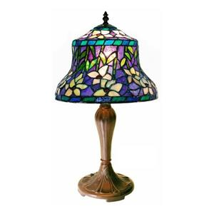 Sunflower 20-in with Bronze Base and Purple Glass Shade Table Lamp