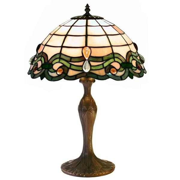 Warehouse of Tiffany Semi Baroque 19-in with Bronze Base and Multi Coloured Shade Table Lamp