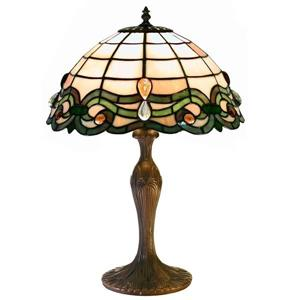 Semi Baroque 19-in with Bronze Base and Multi Coloured Shade Table Lamp