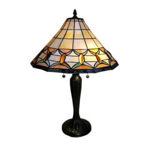 Warehouse of Tiffany 25-in with Bronze Base and Multi Coloured Shade Table Lamp