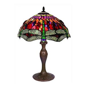 Warehouse of Tiffany 24-in with Bronze Base and Multi Coloured Shade Table Lamp