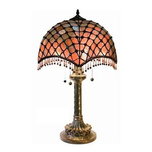 Warehouse of Tiffany 26-in with Bronze Base and Multi Coloured Shade Table Lamp