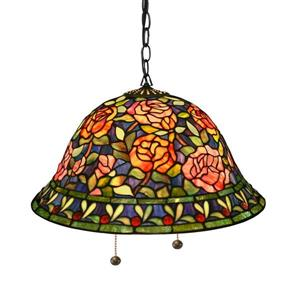 Warehouse of Tiffany Southern Belle Rose 18-in Bronze Tiffany-Style Single Stained Glass Bell Pendant