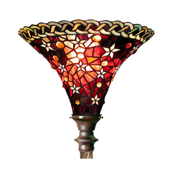 Warehouse of Tiffany 72-in Red Vintage Star Foot Switch Torchiere Floor Lamp with Glass Shade
