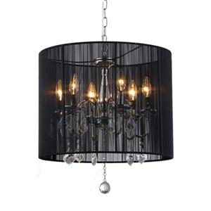 Warehouse of Tiffany 6-Light Chrome Transitional Drum Chandelier