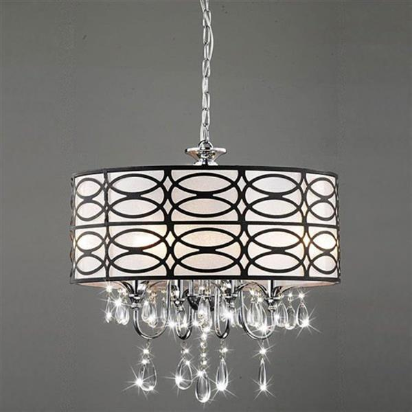Warehouse of Tiffany Roxanne 4-Light Chrome Transitional Drum Chandelier