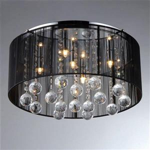 Warehouse of Tiffany Crystal 20-in W Chrome Crystal Accent Flush Mount Light