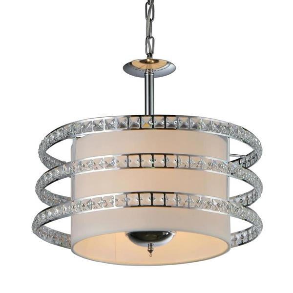 Warehouse of Tiffany Saturn Silver Modern Drum Pendant