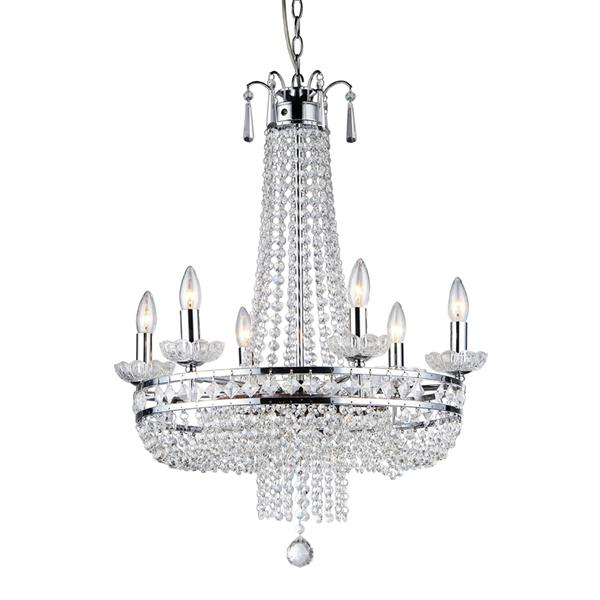 Warehouse of Tiffany 7-Light Chrome Transitional Crystal Empire Chandelier
